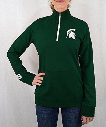 gan State Spartans Women's Quarter Zip Captain Green - S - Green White ()