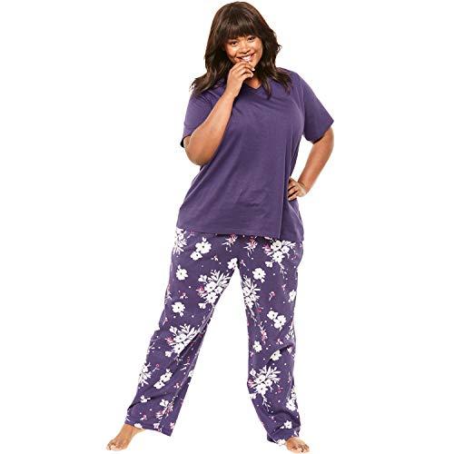 Dreams & Co. Women's Plus Size Knit Sleep Capri - Rich Violet Bud, 1X