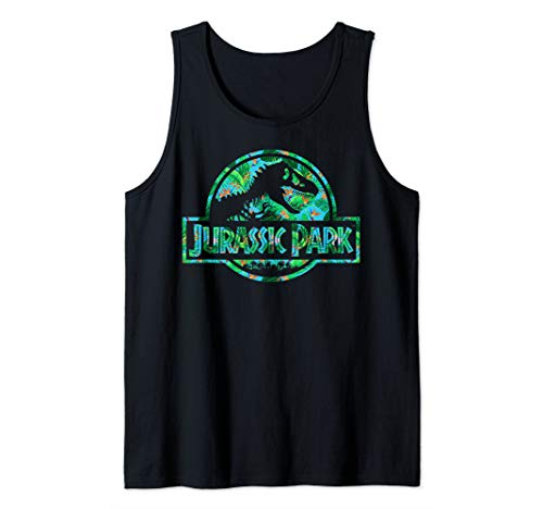 (Jurassic Park Tropical Tree Fill Fossil Logo Tank Top)