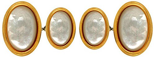 David Van Hagen Mens Gold Plated Mother of Pearl Oval Double Chain Cufflinks - White/Gold