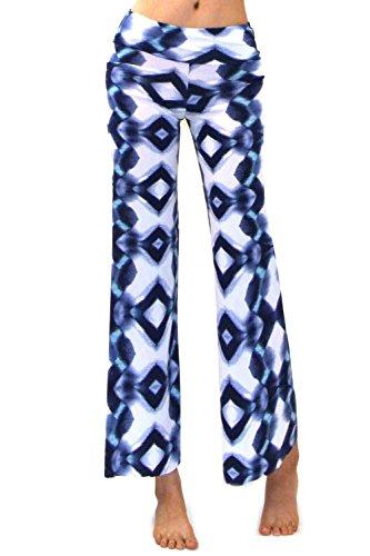 Vivicastle Women's Fold Over High Waist Wide Leg Long Palazzo Pants (Medium, P4, Gaucho St)