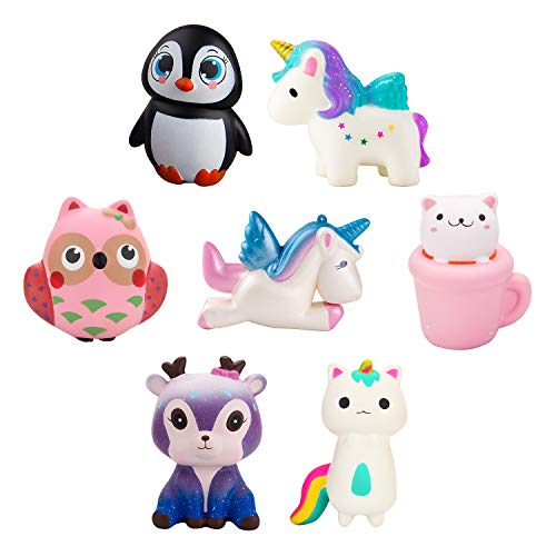 WATINC Random 4 Pcs Jumbo Animal Squishy Sweet Scented Vent Charms Slow Rising squishies Kawaii Kid Toy , Lovely Stress Relief Toy, Animals Gift Fun Large by WATINC