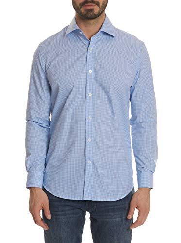 Robert Graham Designs Scott Checkered Print Dress Shirt Blue 17 ()