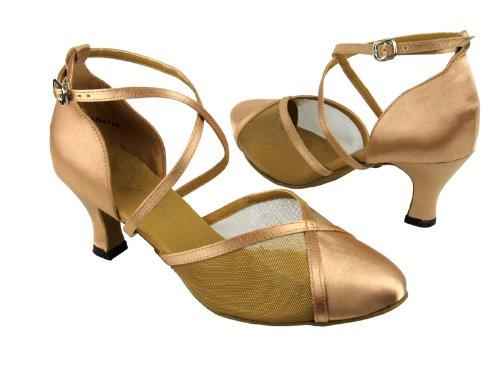 Dames Dames Ballroom Dansschoenen Voor Latin Salsa Tango Classic 9622 Bruin Satijn & Gm 2.5