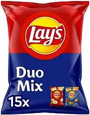 Lay's Duopack Naturel & Paprika Chips, Zak 1 stuk x 413 g (15 zakjes / 2 smaken)