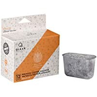 Qlear-CUS Premium Replacement Coffee Machine Charcoal Water Filter to Use & Compatible with Cuisinart Coffee Machines - 12 Pack