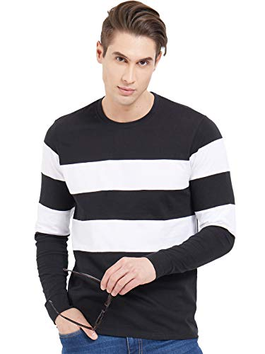 LEWEL Men's Stylish Broad Stripes Full Sleeve T Shirts  Black, White