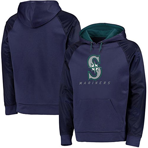 Majestic Men's Big & Tall MLB Armor II Therma Base Pullover Hooded Sweatshirt (2XL, Seattle Mariners)