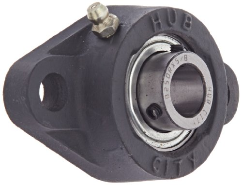 Hub City FB260URX5/8 Flange Block Mounted Bearing, 2 Bolt, Normal Duty, Relube, Setscrew Locking Collar, Narrow Inner Race, Cast Iron Housing, 5/8