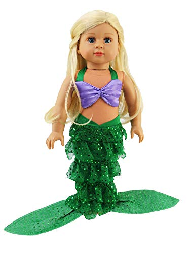 Alexander Doll Girl Madame American - Mermaid Halloween Outfit Shell Bikini Top and Sequin Mermaid Tail | Fits 18
