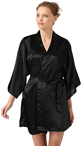 99bbde0d88 SlickBlue Womens Kimono Robe Satin Bridesmaid Lounge Sleepwear -Dark Black