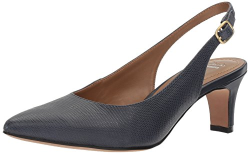 Clarks Womens Crewso Riley Dress Pump Stampa Lucertola In Pelle Blu Navy