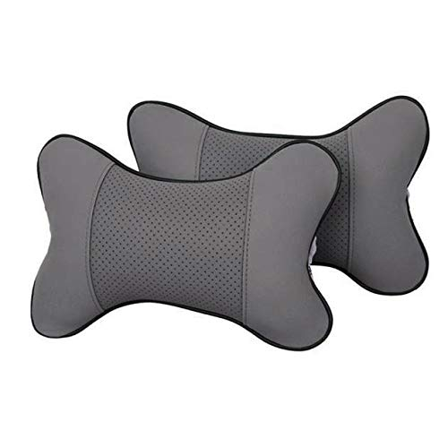 Headrest Pillow Pad Relax Support Neck Pillow Car Seat Breathable Neck Rest Cushion for Traveling Driving Adjust Height (Gray)