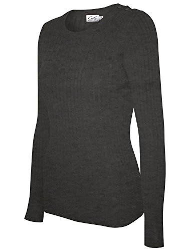 Cielo Women's Basic Solid Stretch Crewneck Cable Knit Pullover Sweater Charcoal Grey S