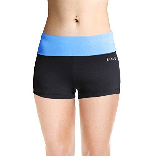 Baleaf Women's High Waist Athletic Workout Yoga Booty Running Shorts Inner Pocket Little Boy Blue Size M