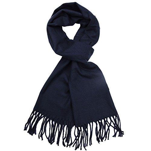 - TZ Promise Plain Solid Color Cashmere Feel Classic Soft Luxurious Winter Scarf For Men Women (Navy Blue)