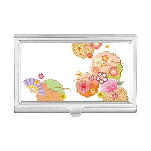 Folding Fan Sakura Pattern Geometry Business Card Holder Cas