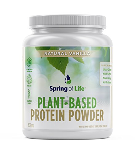 Spring Of Life Plant-Based Protein Powder, Vegan, Non-GMO, Hypoallergenic, Vanilla, 853 Grams