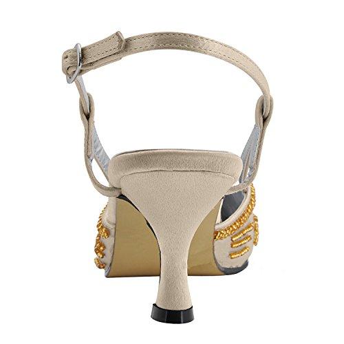Minishion Mz586 Womens Handgemaakte Pailletten Satijnen Bruids Bruiloft Avond Formele Party Pumps Schoenen Bruin-6.5cm Hak
