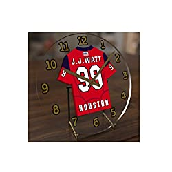 FanPlastic J.J. WATT 99 Houston Texans Desktop Clock - National Football League Legends Edition !!