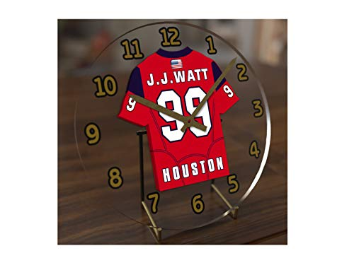 FanPlastic J.J. WATT 99 Houston Texans Desktop Clock - National Football League Legends Edition !!