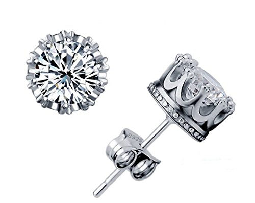 ROUND 101 Unisex AAA 925 Silver Crown Earrings Zircon Crystal Earrings Birthday Gift (White) Swarovski Crystal Crown Earring