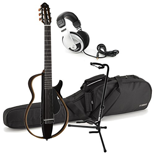 Yamaha SLG200N TBL Nylon Silent Guitar 2015 New Model (Trans Black) w/ Gig Bag, Stand, and Headphones - Classical Stand Yamaha