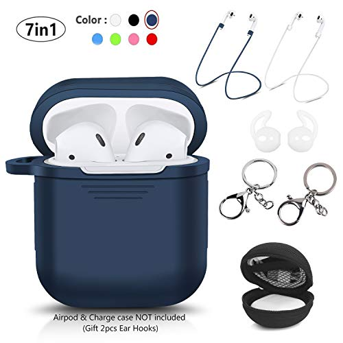 Case Keychain Bag (LKDEPO 7 in 1 Accessories Set [ Include Protective Silicone Case Cover/Ear Hook/Keychain/Strap/Travel Coin Bag ] (Blue))