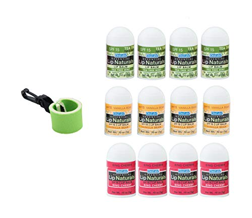 Essential Lip Naturals Mini Lip Balm Assorted Flavors12 Count | Bundle with | 1 Mini Neoprene Sleeve | Lip Balm Holder with Swivel Clip by Mile High Online (13 Total ()