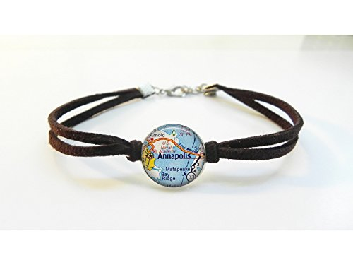 Annapolis Maryland Map Bracelet - Vintage Map - Leather Bracelet - Map Jewelry