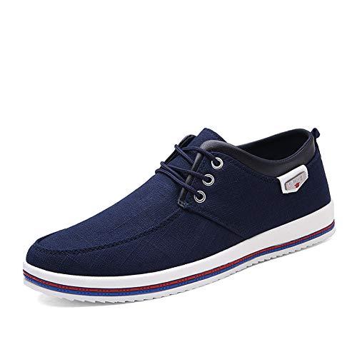 (MAIZUN Mens Canvas Skate Shoes Casual Lace-Up Fashion Sneaker Soft Non-Slip Comfortable Street Shoe Navy Blue)