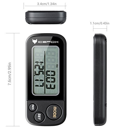 icefox Walking 3D Pedometer with Clip and Strap,Free eBook,30 Days Memory,Best Accurate Step Counter,Walking Distance Miles and Km,Calorie Counter,Daily Target Performance Monitor,Exercise Time