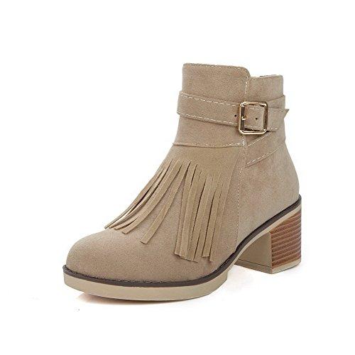 AgooLar Women's Kitten-Heels Frosted Low-Top Solid Zipper Boots Beige UEpGeffKSm