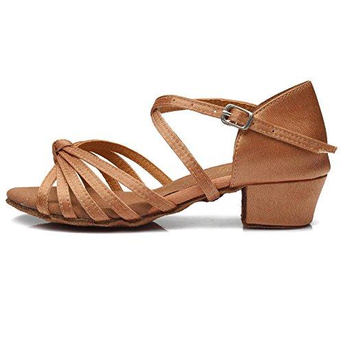Brown Shoes Latin Salsa Girls amp;Women's Standard Model YKXLM Shoes Dance Ballroom UK203 Performance x67zgqwqB