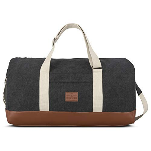 (Weekender Men & Women Anthracite JOHNNY URBAN Travel Tote Canvas & PU Leather & Sports Bag)