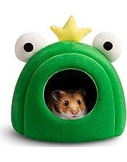 Hollypet Warm Small Pet Animals Bed Dutch Pig Hamster Nest Hedgehog Rat Chinchilla Guinea Habitat Mini House, Green Bullfrog