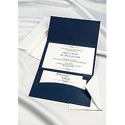 Horizon Pocket Folder Invitation Kit - Navy Blue - Pack of 20