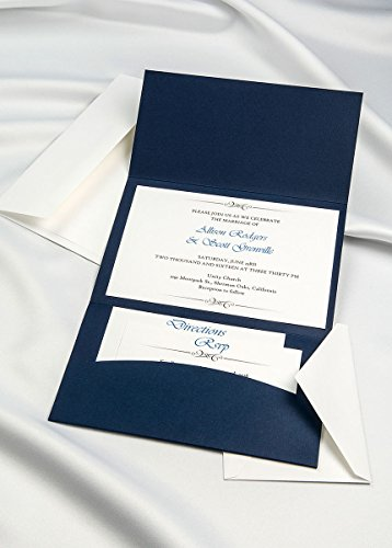 Horizon Pocket Folder Invitation Kit - Navy Blue - Pack of 20