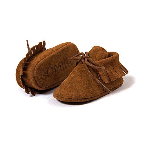 Itaar–Mocasín Borlas Zapatos de Cuna suave única prewalker con cordones para bebé para niños y niñas rojo rosso Talla:0-6 meses marrón