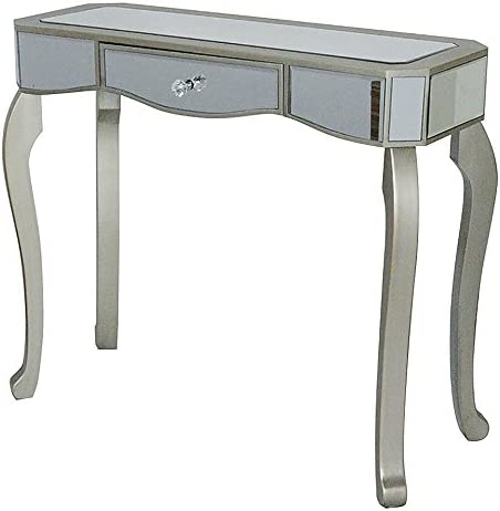 Heather Ann Creations 30.7 Champagne Katrina Collection Console Living Room Office Writing Table with Drawer and Mirror Accents