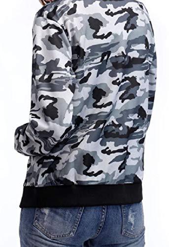 Coat Jacket Pattern1 Fashion Zip Women's XINHEO Pocket Camo Weekend Stitch ZxS08