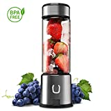 Portable Glass Smoothie Blender, Kacsoo SPOW Series USB Rechargeable Personal Blender Juicer Cup, Single Serve Fruit Mixer, Multifunctional Small Travel Blender for Shakes and Smoothies, with 5200 mAh Rechargeable Battery (Black)