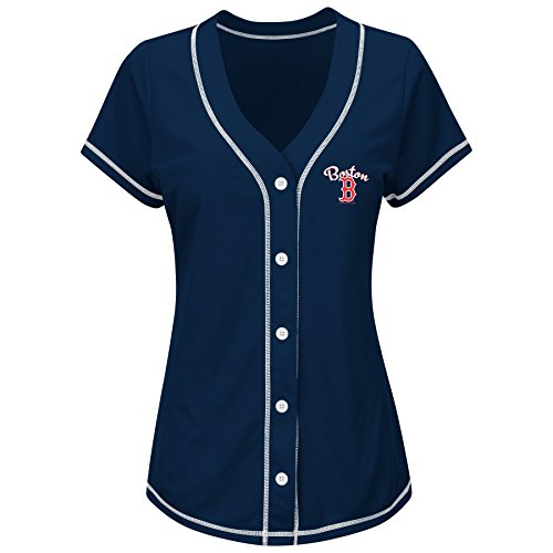 MLB Boston Red Sox Women's T4L Fashion Tops, Navy/White, Small