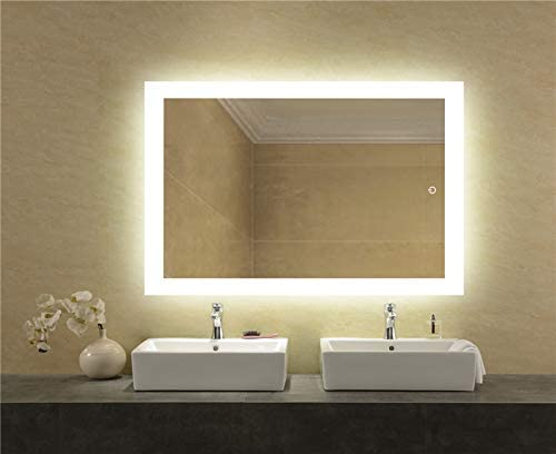 LEDMyplace LED Bathroom Lighted Mirror 24×36 Inch, Window Style Lighted Vanity Mirror Includes Defogger, Touch Switch Controls LED Light with On Off and CCT Remembrance, ETL Listed