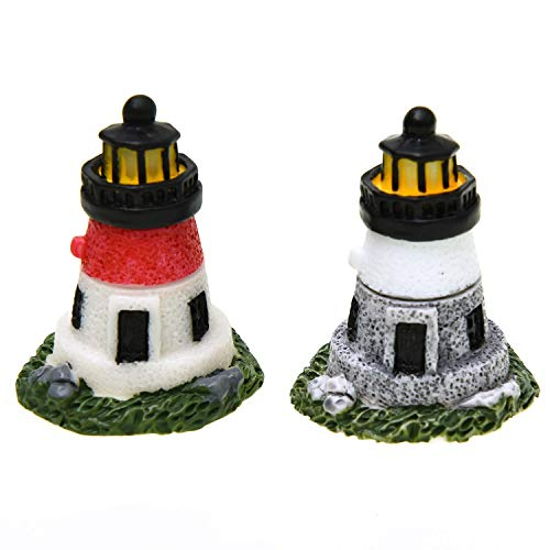Monrocco 4 Pack Resin Lighthouse Miniature Figurines Garden Ornaments Fairy Garden Decoration ()