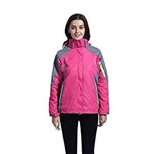 Leajoy Women's Waterproof 3-in-1 Outdoor Fleece Liner Jacket with Removable Hood Warm Windbreaker
