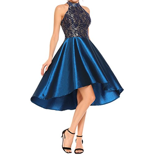 Novia's Choice Women Retro Halter Floral Lace Cocktail Evening Party Dress Ball Gown Prom Dress(Blue XL)