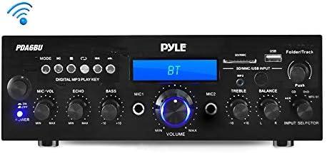 Pyle PDA6BU.5 Compact Bluetooth Stereo Amplifier – Desktop Audio Power Amp Receiver with FM Radio, MP3 USB SD Readers, Digital LCD Display, Microphone Input 200 Watt , Black