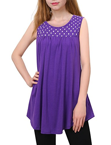 f54635112d1f43 Messic Womens Sleeveless Pleated Front Flowy Scoop V Neck Tunic Tanks Tops
