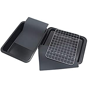 Checkered Chef Toaster Oven Pans – 5 Piece Nonstick Bakeware Set Includes Baking Trays, Rack and Silicone Baking Mats – Best Accessories For Toaster and Convection Ovens